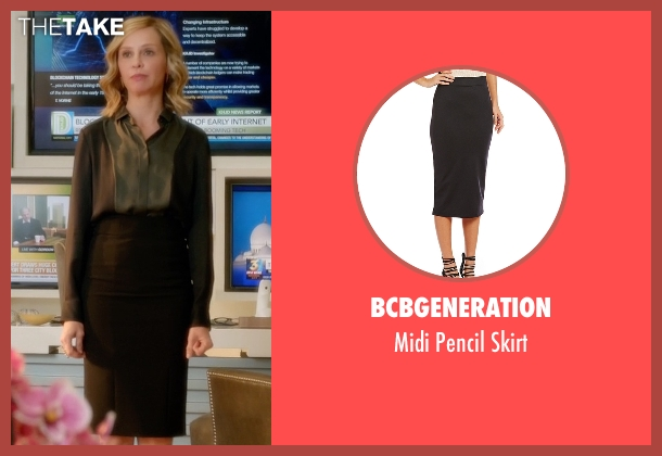 BCBGeneration black skirt from Supergirl seen with Cat Grant (Calista Flockhart)