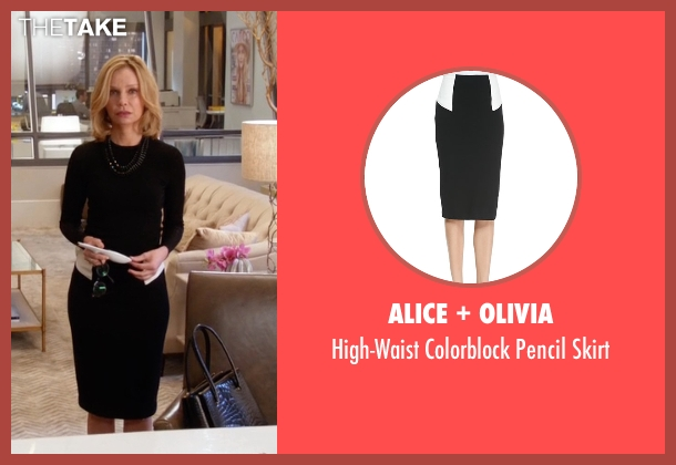 Alice + Olivia  black skirt from Supergirl seen with Cat Grant (Calista Flockhart)