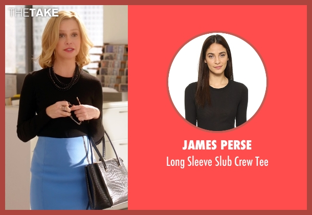 James Perse black tee from Supergirl seen with Cat Grant (Calista Flockhart)