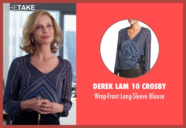 Derek Lam 10 Crosby blue blouse from Supergirl seen with Cat Grant (Calista Flockhart)