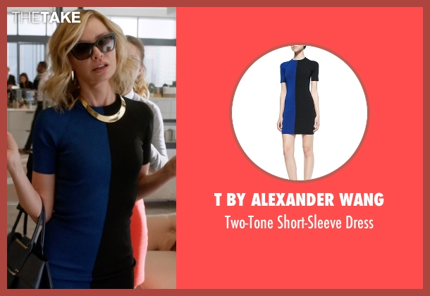 T by Alexander Wang blue dress from Supergirl seen with Cat Grant (Calista Flockhart)