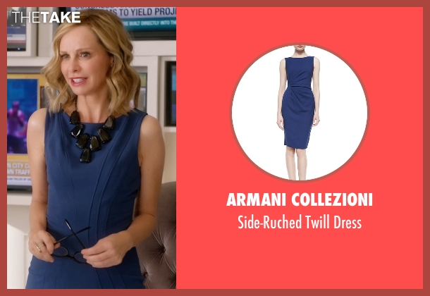 Armani Collezioni blue dress from Supergirl seen with Cat Grant (Calista Flockhart)