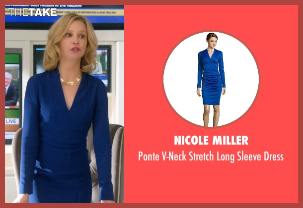 Nicole Miller blue dress from Supergirl seen with Cat Grant (Calista Flockhart)