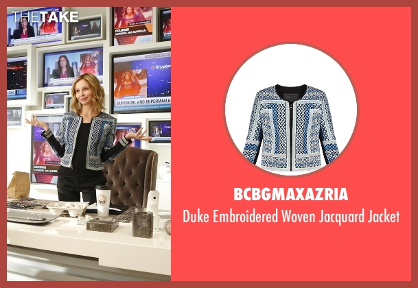 BCBGMAXAZRIA blue jacket from Supergirl seen with Cat Grant (Calista Flockhart)