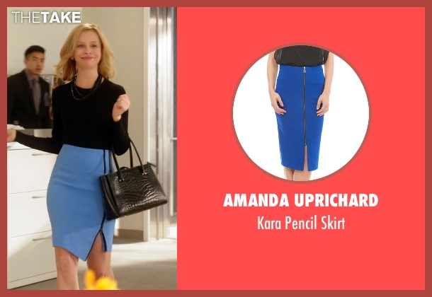 Amanda Uprichard blue skirt from Supergirl seen with Cat Grant (Calista Flockhart)