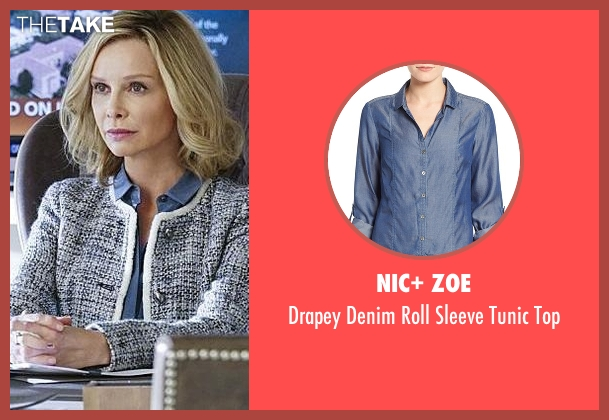 Nic+ Zoe blue top from Supergirl seen with Cat Grant (Calista Flockhart)