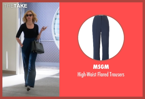 MSGM blue trousers from Supergirl seen with Cat Grant (Calista Flockhart)