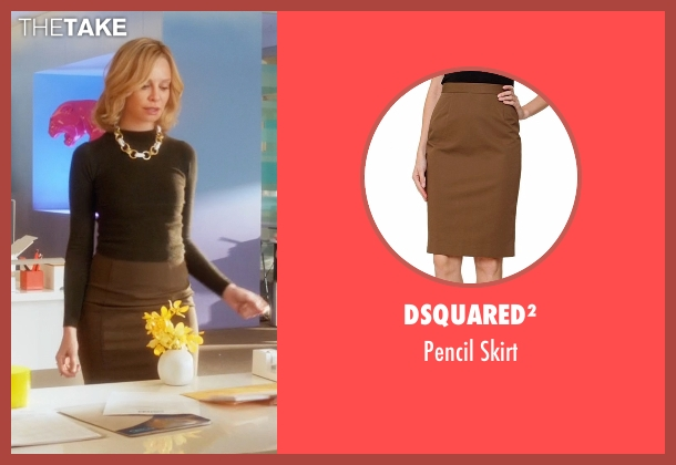 Dsquared² brown skirt from Supergirl seen with Cat Grant (Calista Flockhart)