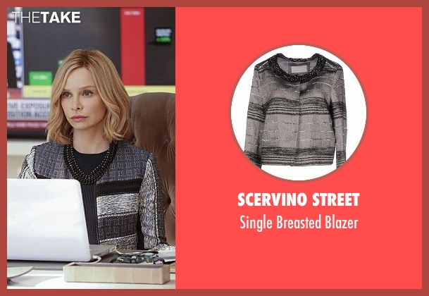 Scervino Street gray blazer from Supergirl seen with Cat Grant (Calista Flockhart)