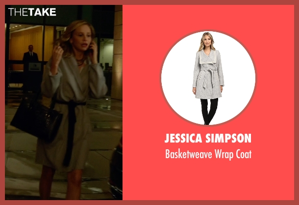 Jessica Simpson gray coat from Supergirl seen with Cat Grant (Calista Flockhart)