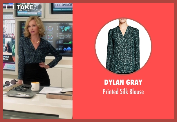 Dylan Gray green blouse from Supergirl seen with Cat Grant (Calista Flockhart)
