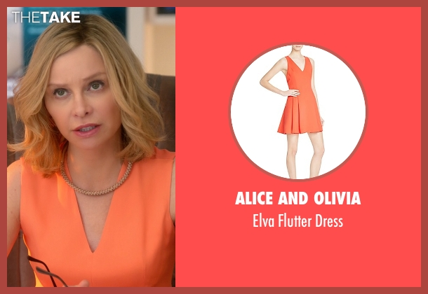 Alice and Olivia orange dress from Supergirl seen with Cat Grant (Calista Flockhart)