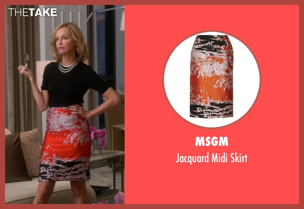 MSGM orange skirt from Supergirl seen with Cat Grant (Calista Flockhart)
