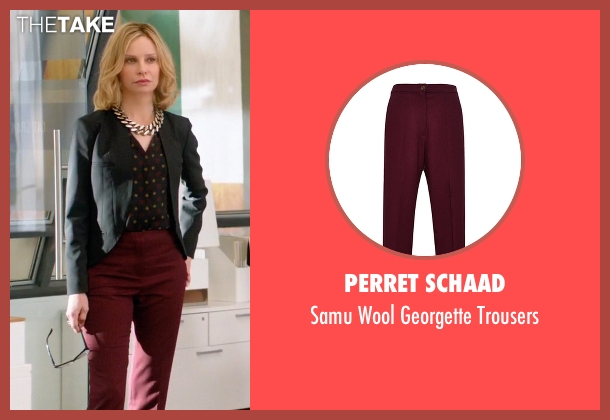 Perret Schaad red trousers from Supergirl seen with Cat Grant (Calista Flockhart)