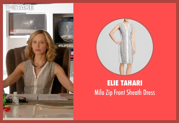 Elie Tahari white dress from Supergirl seen with Cat Grant (Calista Flockhart)