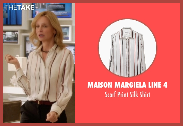 Maison Margiela Line 4 white shirt from Supergirl seen with Cat Grant (Calista Flockhart)
