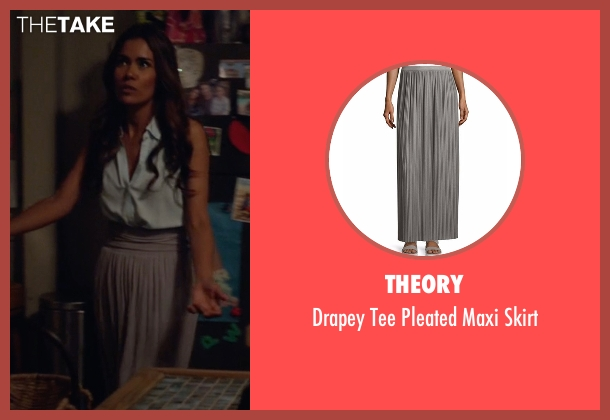 Theory gray skirt from Animal Kingdom seen with Catherine (Daniella Alonso)