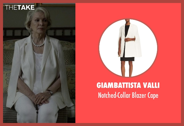 Giambattista Valli white cape from House of Cards seen with Catherine Durant (Jayne Atkinson)