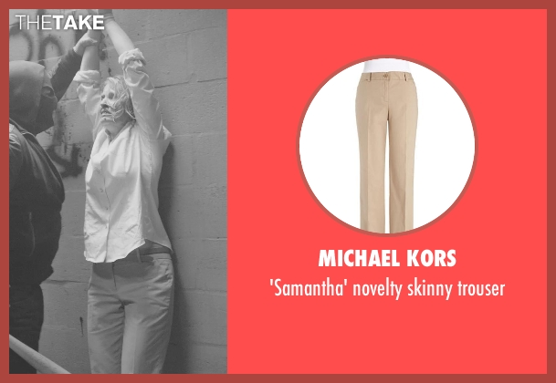 MICHAEL KORS beige trouser from Sabotage seen with Catherine Dyer (Karen Wharton)