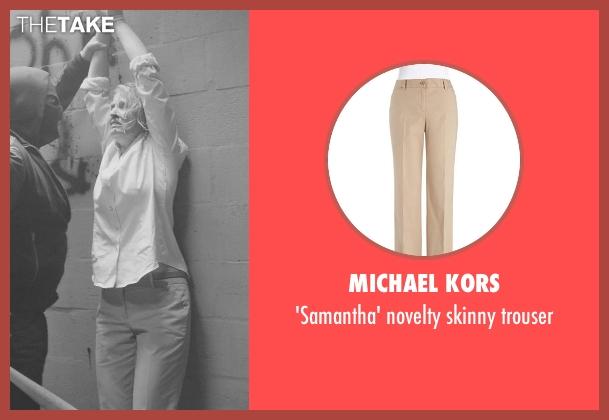 MICHAEL KORS beige trouser from Sabotage seen with Catherine Dyer (Karen Wharton)