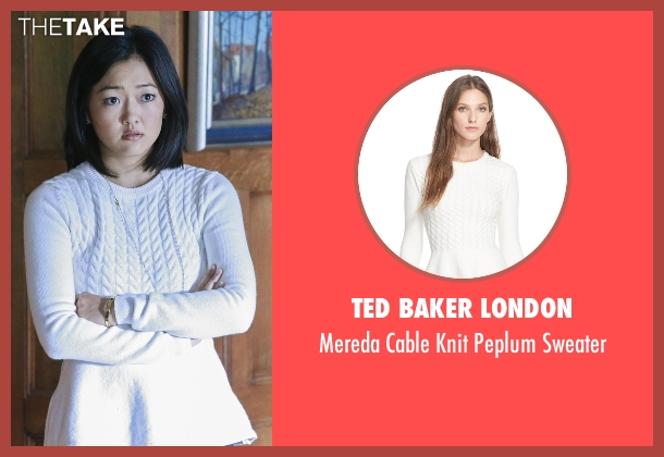 Ted Baker London white peplum sweater from How To Get Away With Murder seen with Catherine Hapstall ( Amy Okuda)