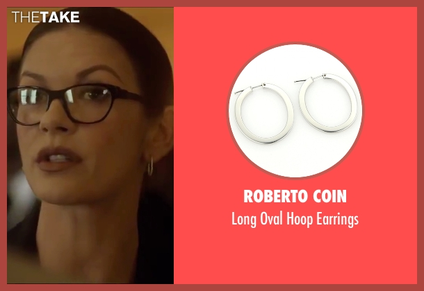 Roberto Coin silver earrings from Side Effects seen with Catherine Zeta-Jones (Dr. Victoria Siebert)