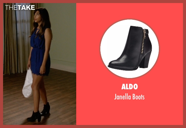 Aldo black boots from New Girl seen with Cece Parekh (Hannah Simone)