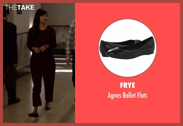 Frye black flats from New Girl seen with Cece Parekh (Hannah Simone)