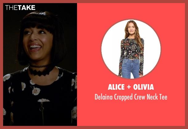 Alice + Olivia black tee from New Girl seen with Cece Parekh (Hannah Simone)