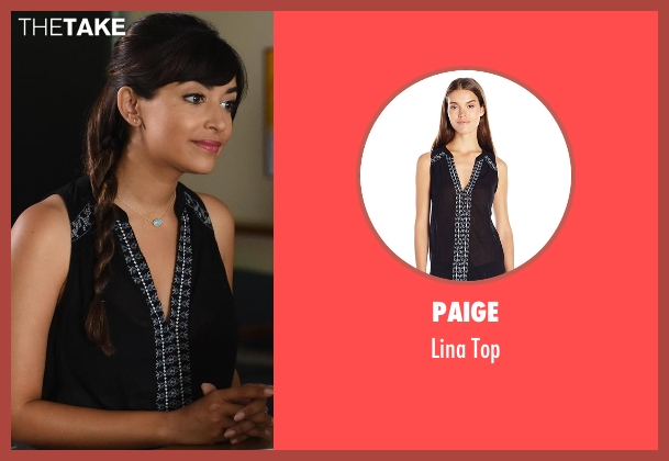 Paige black top from New Girl seen with Cece Parekh (Hannah Simone)