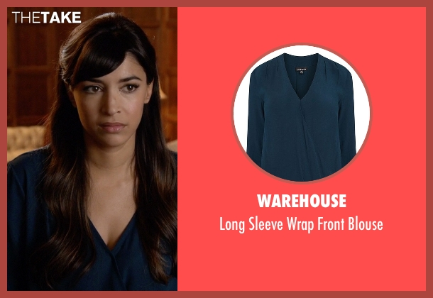 Warehouse blue blouse from New Girl seen with Cece Parekh (Hannah Simone)