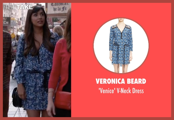 Veronica Beard blue dress from New Girl seen with Cece Parekh (Hannah Simone)