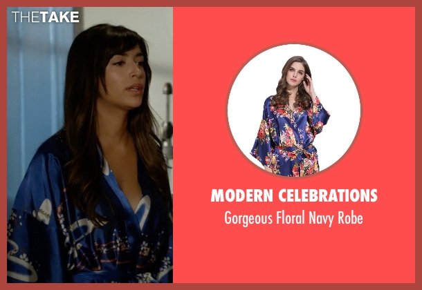 Modern Celebrations blue robe from New Girl seen with Cece Parekh (Hannah Simone)