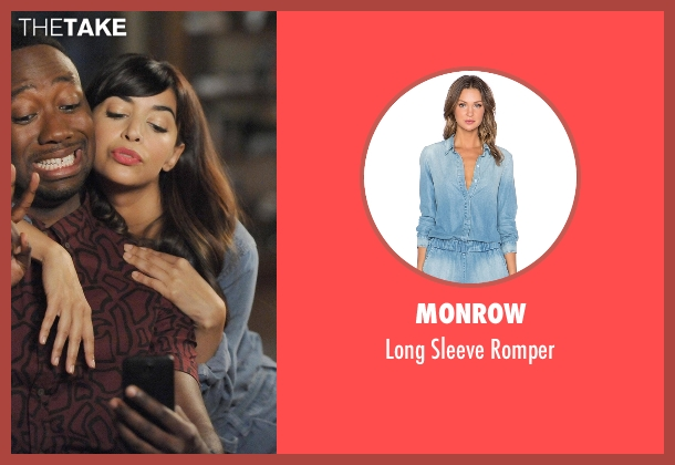 Monrow blue romper from New Girl seen with Cece Parekh (Hannah Simone)