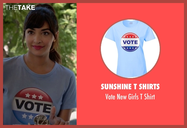 Sunshine T Shirts blue shirt from New Girl seen with Cece Parekh (Hannah Simone)
