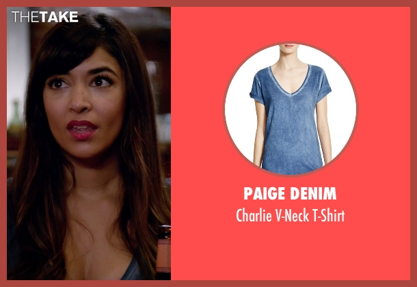 Paige Denim blue t-shirt from New Girl seen with Cece Parekh (Hannah Simone)