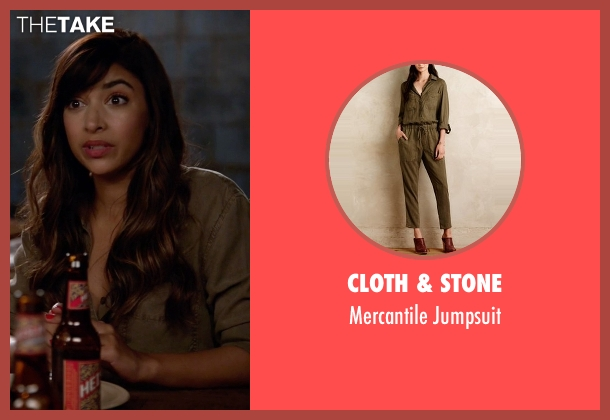 Cloth & Stone green jumpsuit from New Girl seen with Cece Parekh (Hannah Simone)