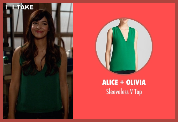 Alice + Olivia green top from New Girl seen with Cece Parekh (Hannah Simone)