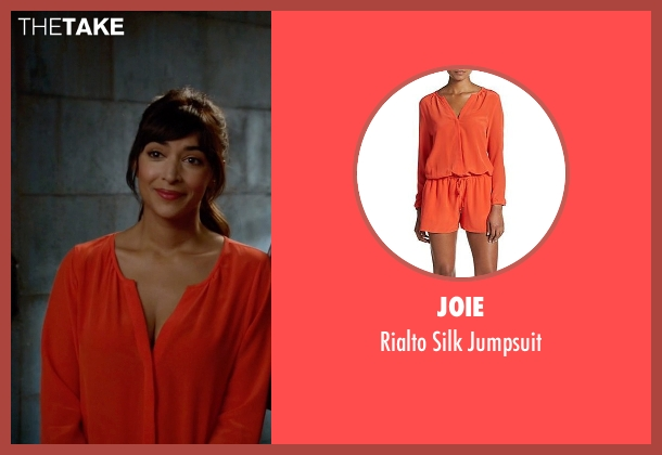 Joie orange jumpsuit from New Girl seen with Cece Parekh (Hannah Simone)