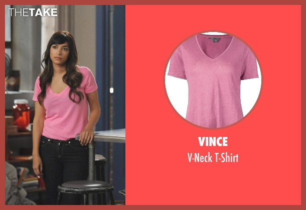 Vince pink t-shirt from New Girl seen with Cece Parekh (Hannah Simone)