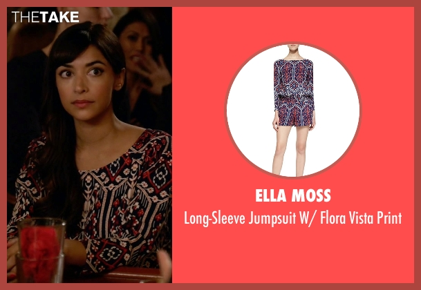 Ella Moss purple print from New Girl seen with Cece Parekh (Hannah Simone)
