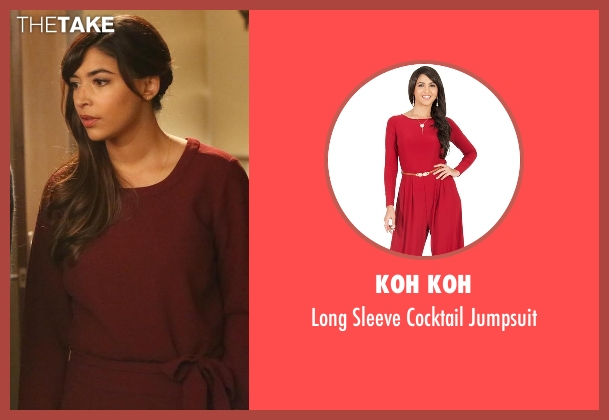 Koh Koh red jumpsuit from New Girl seen with Cece Parekh (Hannah Simone)