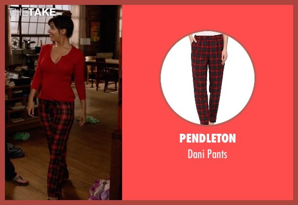 Pendleton red pants from New Girl seen with Cece Parekh (Hannah Simone)