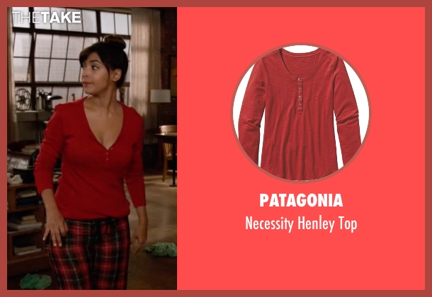 Patagonia red top from New Girl seen with Cece Parekh (Hannah Simone)