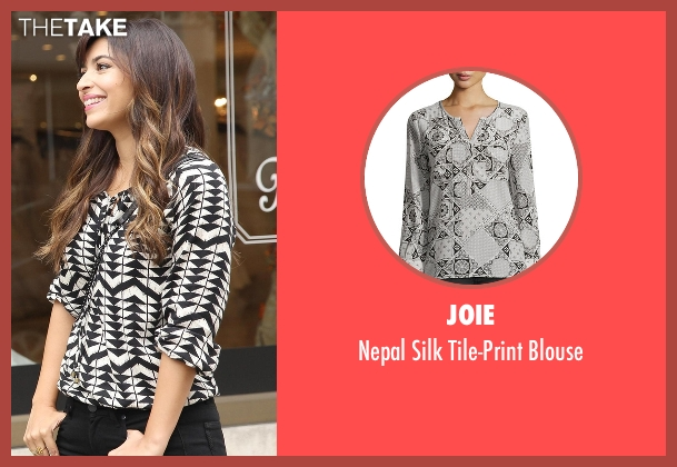 Joie white blouse from New Girl seen with Cece Parekh (Hannah Simone)