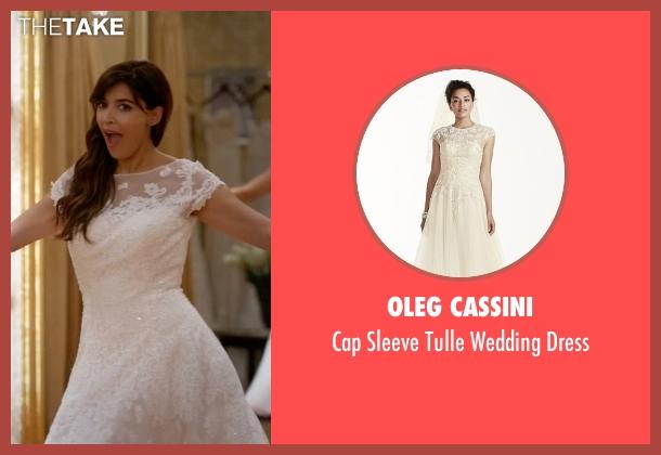 Oleg Cassini white dress from New Girl seen with Cece Parekh (Hannah Simone)