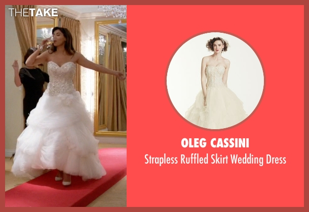 Oleg Cassini white dress from New Girl seen with Cece Parekh (Hannah Simone)