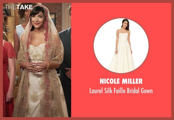 Nicole Miller white gown from New Girl seen with Cece Parekh (Hannah Simone)
