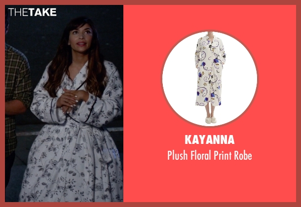 KayAnna white robe from New Girl seen with Cece Parekh (Hannah Simone)