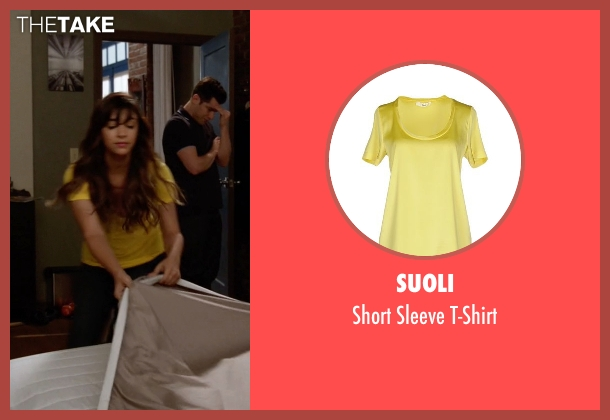Suoli yellow t-shirt from New Girl seen with Cece Parekh (Hannah Simone)